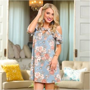 Blue floral cold shoulder ruffle dress